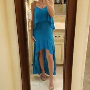 Marciano layered turquoise hi-low dress, XS